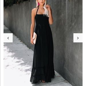 Zayn smocked backless halter maxi dress